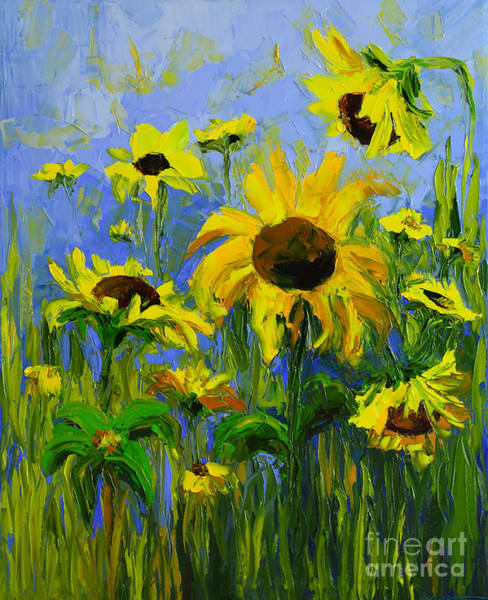 Painting - Misty Morning - Sunflower Field Oil Painting, Landscape Art by Patricia Awapara
