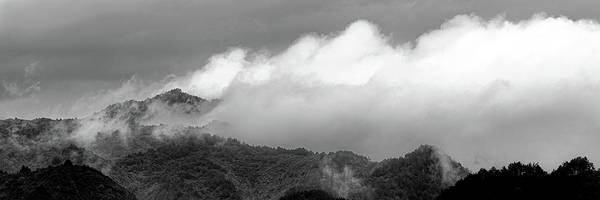 Photograph - Misty Mountains II 3x1 Black And White by William Dickman