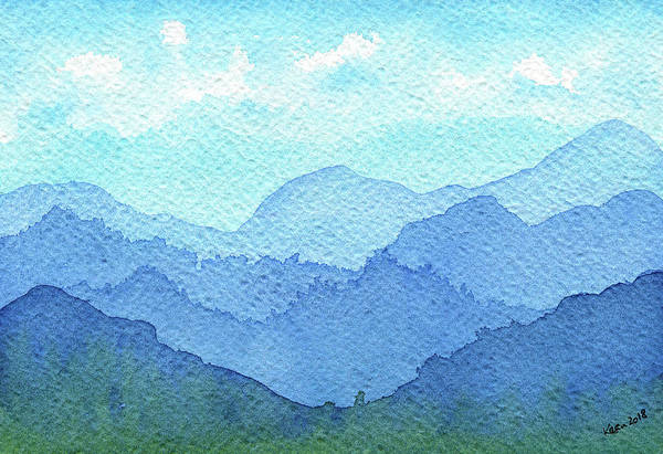 Bavarian Alps Painting - Misty Mountains Watercolor Painting by Karen Kaspar