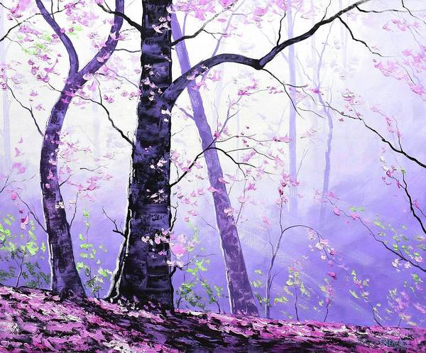 Wall Art - Painting - Misty Pink Trees Forest by Graham Gercken