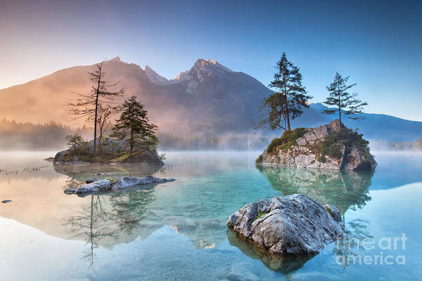 Wall Art - Photograph - Misty Summer Morning On The Hintersee by Jenny Sturm