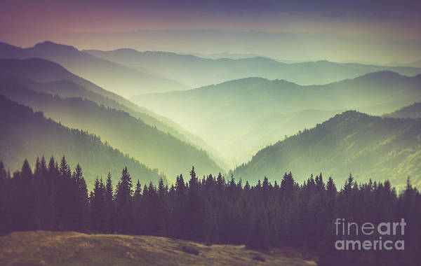 Remote Photograph - Misty Summer Mountain Hills Landscape by Volodymyr Martyniuk