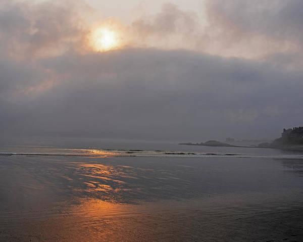 Wall Art - Photograph - Misty Sunrise Over Nantasket Beach Hull Massachusetts Reflection Golden Sunrise Cloud Layer by Toby McGuire