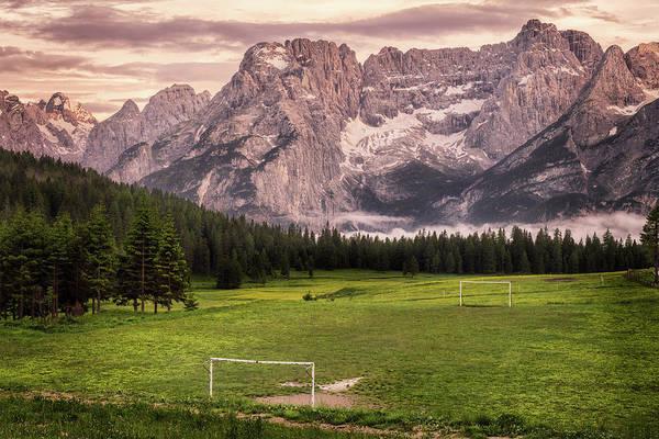 Photograph - Misurina - Civetta Mountain And A Football Pitch - Dolomites, Italy by Nico Trinkhaus