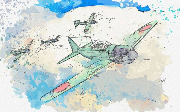 Wall Art - Painting - Mitsubishi A6m Zero Wwii Watercolor By Ahmet Asar by Ahmet Asar