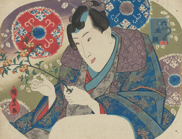 Relief - Mitsuuji With Mountain Roses by Utagawa Kunisada