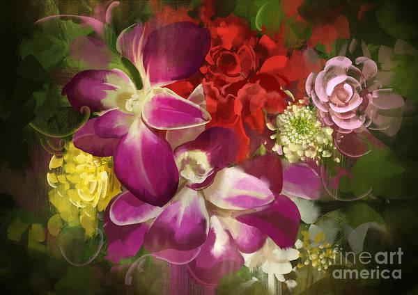 Wall Art - Digital Art - Mixed Flower Bouquet,digital by Tithi Luadthong