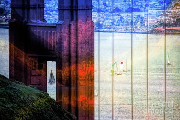 West Bay Digital Art - Mixed Media Golden Gate Bridge  by Chuck Kuhn
