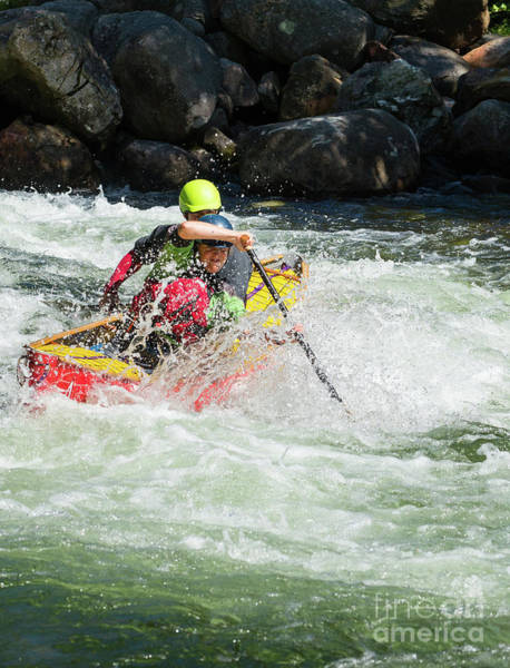 Photograph - Mixed Tandem Canoe Team In Rapods by Les Palenik