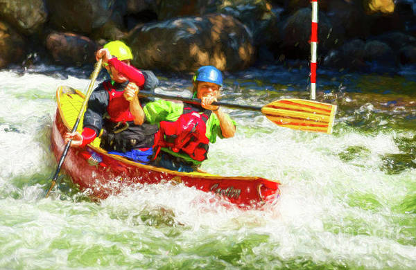 Digital Art - Mixed Tandem Canoe Whitewater Race - Painterly by Les Palenik
