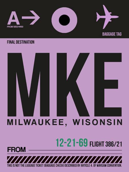 Wall Art - Digital Art - Mke Milwaukee Luggage  by Naxart Studio
