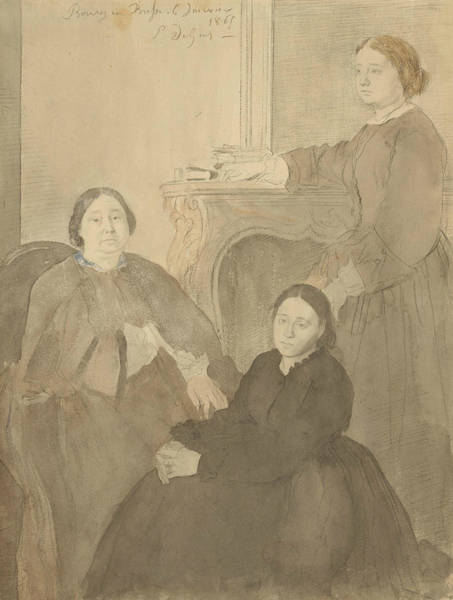 Wall Art - Drawing - Mme Michel Musson And Her Daughters, Estelle And Desiree by Edgar Degas