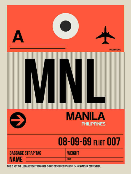 Wall Art - Digital Art - Mnl Manila Luggage Tag I by Naxart Studio