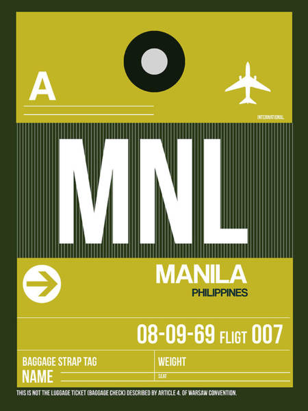 Wall Art - Digital Art - Mnl Manila Luggage Tag II by Naxart Studio