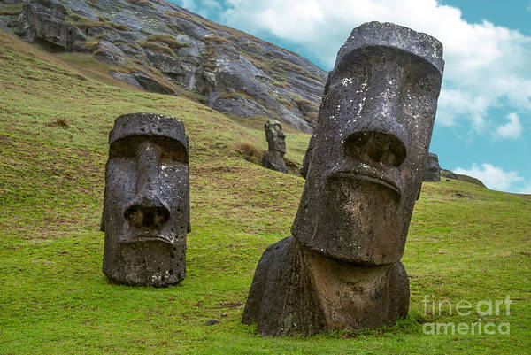 Symbol Photograph - Moai Standing In Easter Island , Chile by Esb Professional