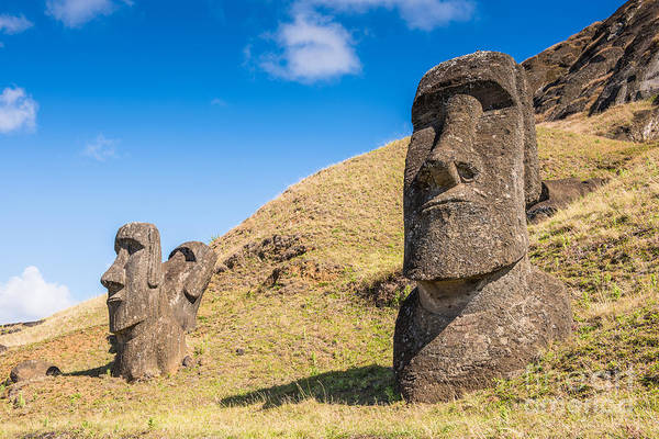 Polynesia Wall Art - Photograph - Moaia At Rapa Nui National Park, Easter by Anton ivanov