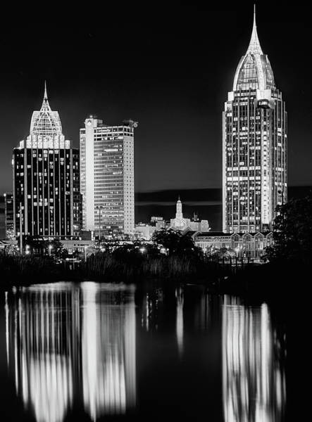 Photograph - Mobile At Night Black And White by JC Findley