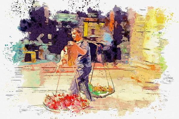 Payment Painting - Mobile Fruit Seller Watercolor By Ahmet Asar by Ahmet Asar