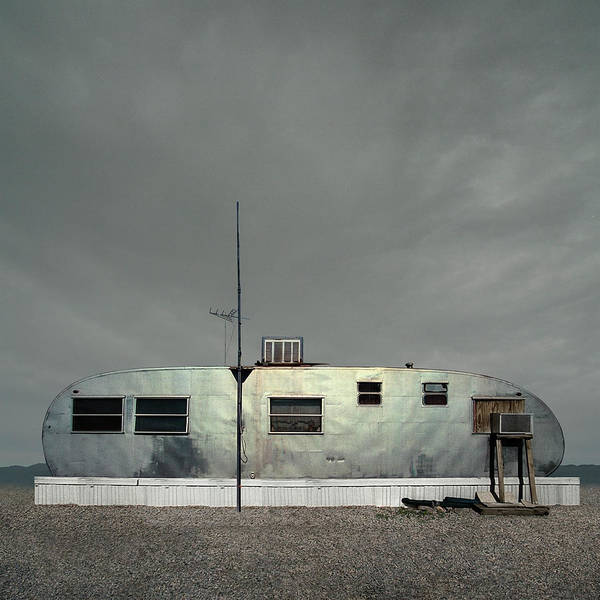 Wall Art - Photograph - Mobile Homes In Trailer Park At Dusk by Ed Freeman