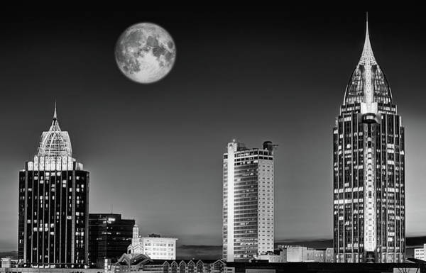 Photograph - Mobile Skyline Black And White by JC Findley