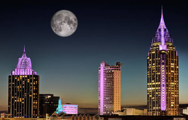 Photograph - Mobile Skyline Moon by JC Findley