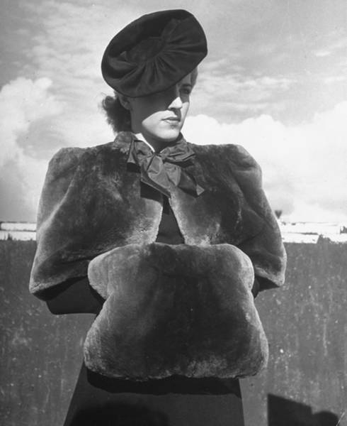 Neiman Photograph - Model Clad In Sheared Beaver Mantelet & by Alfred Eisenstaedt