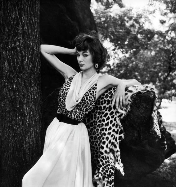 Art Prints Photograph - Model Displaying Leopard Print Dress by Nina Leen