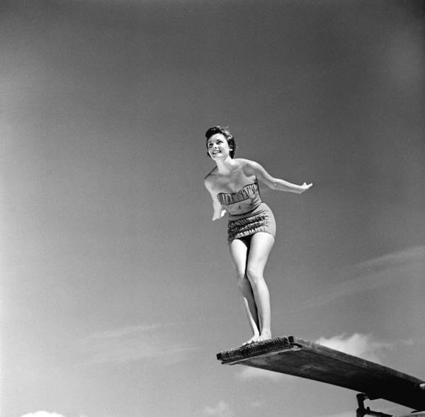 Diving Board Photograph - Model Diver by George Pickow
