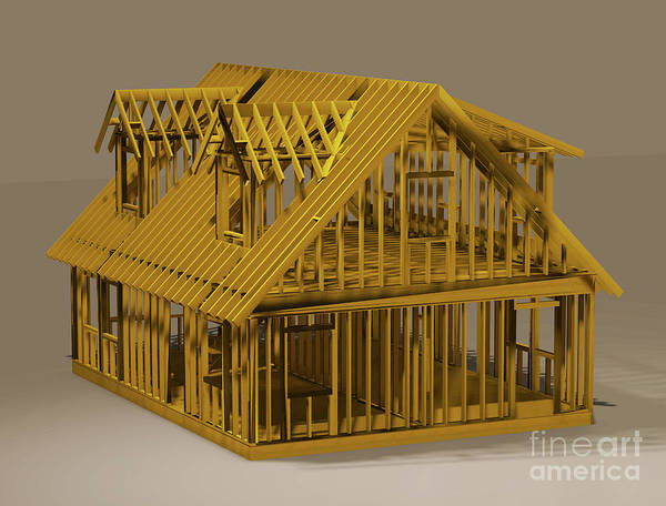2x4 Wall Art - Digital Art - Model House Frame by Jonathan Lingel