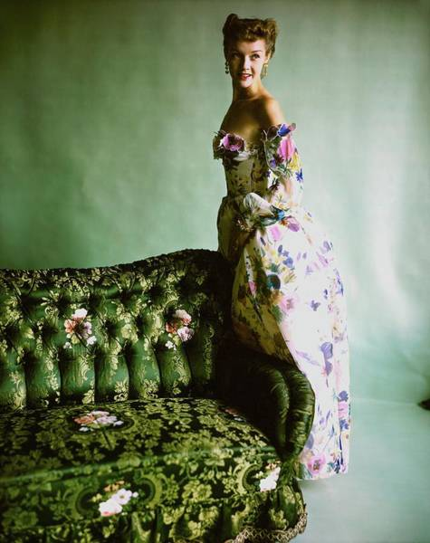 Blue Gown Photograph - Model In A Ben Gam Dress by Horst P. Horst