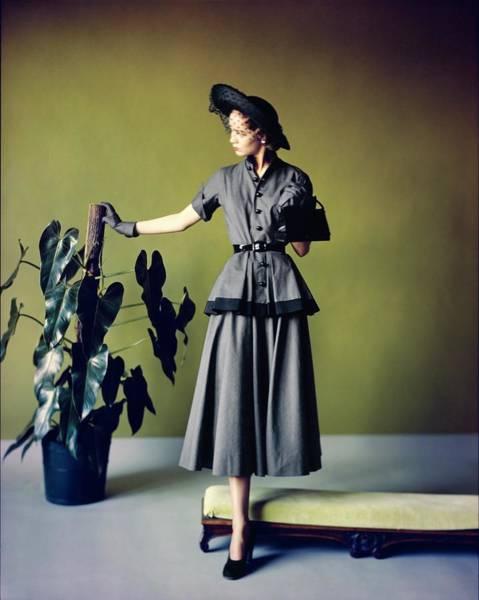 Photograph - Model In A Ben Reig Dress by Horst P. Horst