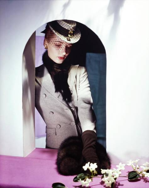 Wall Art - Photograph - Model In A Bergdorf Goodman Suit by Horst P. Horst