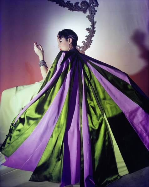 Sweeping Photograph - Model In A Charles James Cape by Horst P. Horst