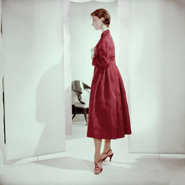 Wall Art - Photograph - Model In A Ferreras Coat by Horst P. Horst