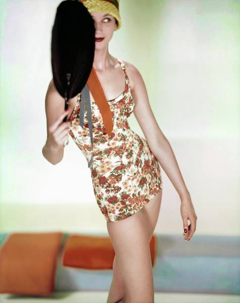 Wall Art - Photograph - Model In A Floral Swimsuit by Horst P. Horst