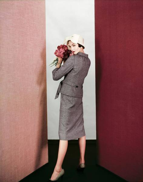 Wall Art - Photograph - Model In A Galanos Tweed Suit by Henry Clarke