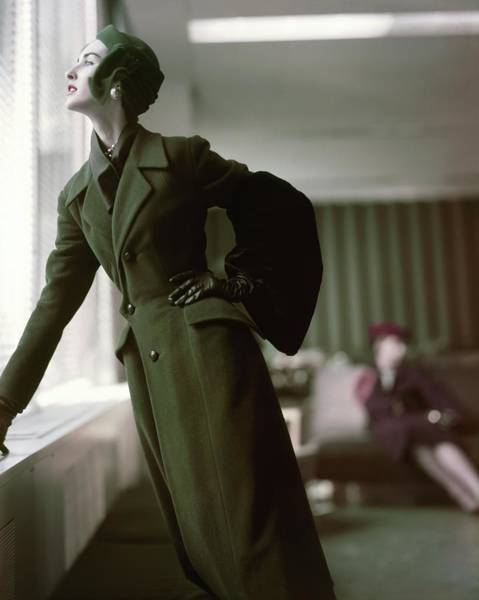 Photograph - Model In A Green Dior Coat by Horst P. Horst