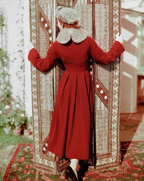 Screen Photograph - Model In A Henri Bendel Coat by Horst P. Horst