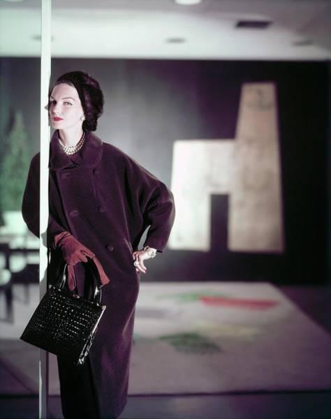 Wall Art - Photograph - Model In A Lilli Ann Coat by Horst P. Horst