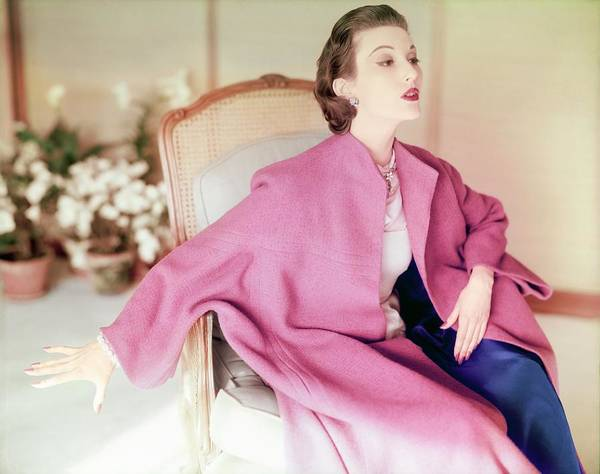 Wall Art - Photograph - Model In A Lo Bablo Coat by Horst P. Horst