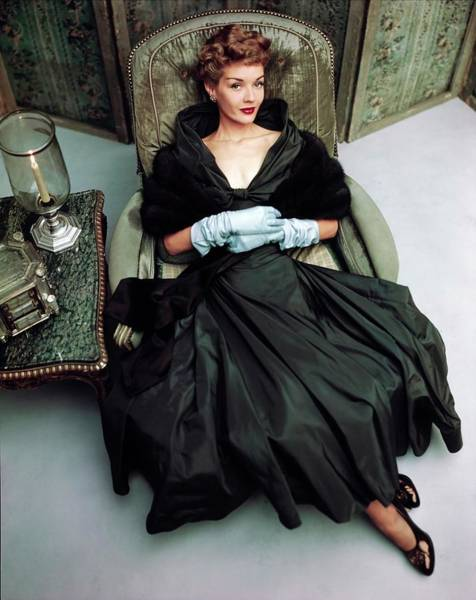Blue Gown Photograph - Model In A Mark Mooring Dress by Horst P. Horst