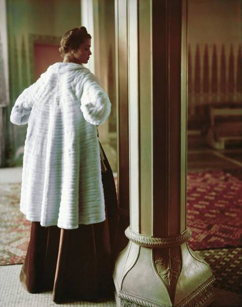 Photograph - Model In A Maximilian Ermine Coat by Horst P. Horst