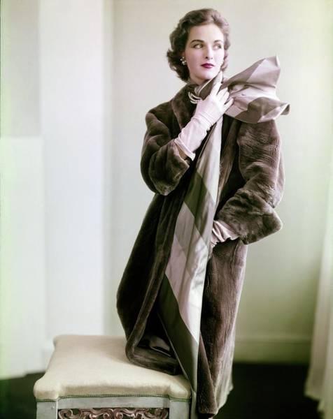 Photograph - Model In A Maximilian Otter Coat by Horst P. Horst