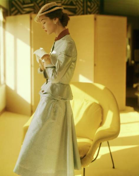 Screen Photograph - Model In A Mollie Parnis Suit by Horst P. Horst