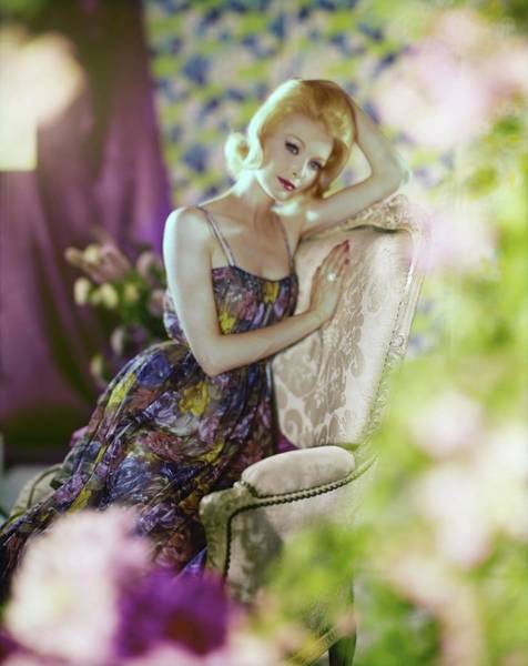 Flower Head Photograph - Model In A Munsingwear Floral Nightgown by Horst P. Horst