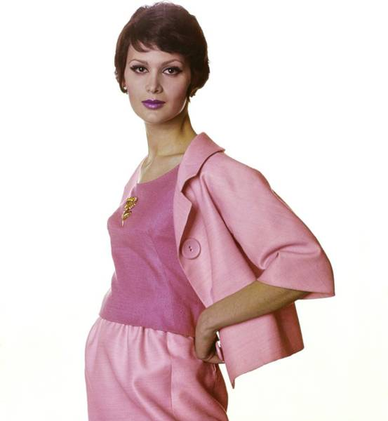 Wall Art - Photograph - Model In A Pink Sarmi Suit by Bert Stern