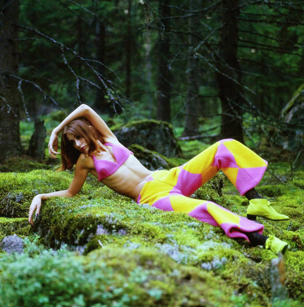 Photograph - Model In A Pink Bikini Top And Pants In Finnish Forest by Gordon Parks