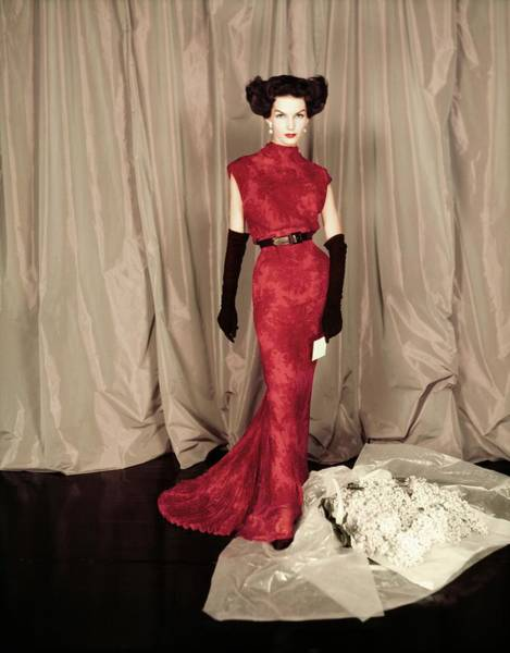 Paper Dress Photograph - Model In A Red Balmain Gown by Henry Clarke