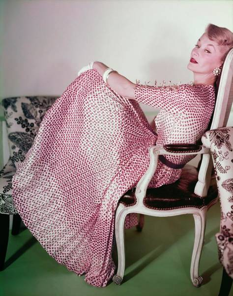 Wall Art - Photograph - Model In A Sophie Print Dress by Horst P. Horst