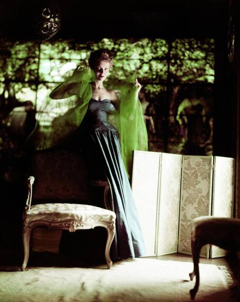 Screen Photograph - Model In A Sophie Silk Gown by Horst P. Horst